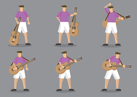 man full body: Set of six vector cartoon character of a guitarist playing music on acoustic guitar isolated on grey background. Illustration
