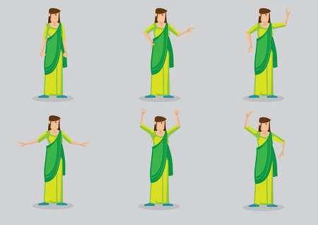 Cartoon character of woman with red bindi on forehead wearing green sari, a type of traditional costume in South Asia. Set of six vector illustration isolated on grey background.