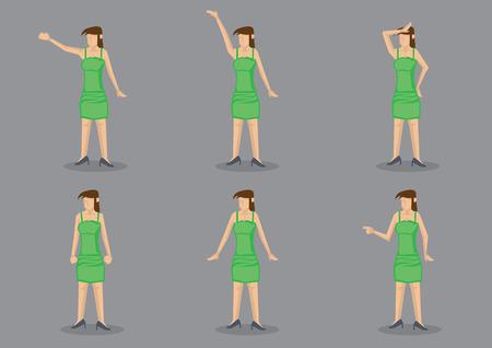 simbolo de la mujer: Jovencita con un vestido de deslizamiento abrazos cuerpo verde con tirantes y zapatos de tacón negros en diferentes gestos. Conjunto de seis personajes de dibujos animados de vectores aislados sobre fondo gris.