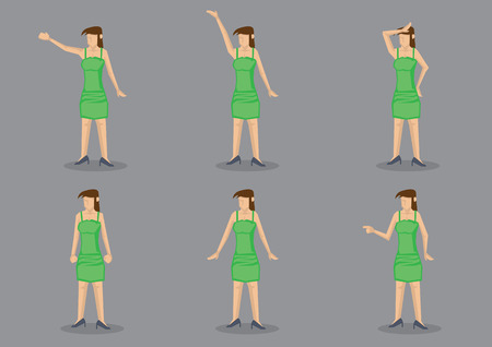 tight fitting: Young lady wearing green body hugging slip dress with spaghetti straps and black heels in different gestures. Set of six vector cartoon characters isolated on grey background.