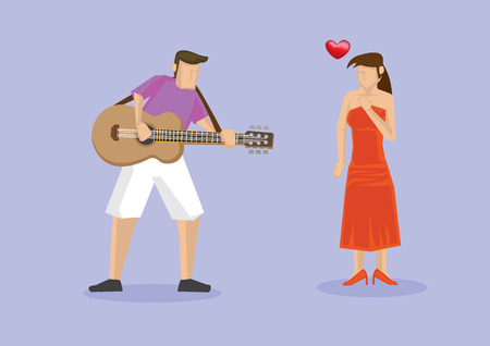 Lady in red dress falling in love with talented musician playing music on guitar. Vector illustration of characters isolated on plain purple background.
