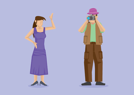 cargo pants: Vector illustration of woman model wearing long purple dress striking a pose for professional photographer in photo shoot session. Cartoon characters for photography concept isolated on plain purple background. Illustration