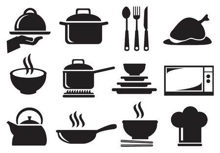baking dish: Black and white vector icons of kitchen utensils and equipment for cooking and food preparation isolated on white background. Illustration