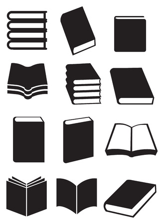 black pictogram: Different designs for books. Black and white vector icon illustration isolated on white background.