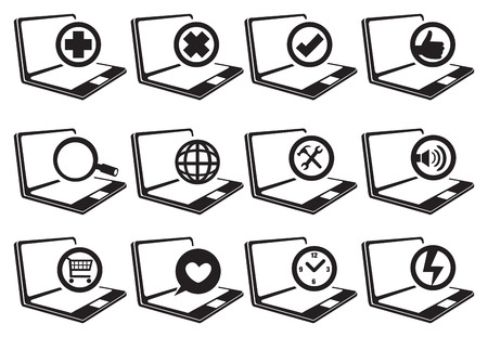 slanted: Internet web symbols in circle on laptop computers in tilted angle view. Black and white vector icons isolated on white background. Illustration