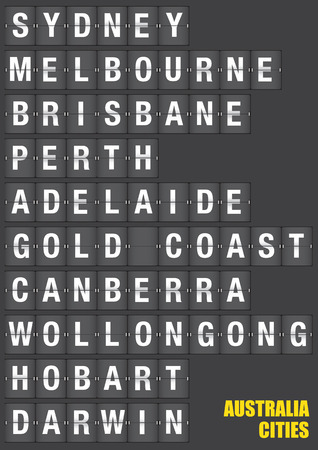 gold coast: Names of Australian cities on old fashion split-flap display like travel destinations in airport flight information display system and railway stations timetable. Vector illustration. Illustration