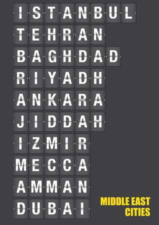 destinations: Names of Middle Eastern cities on old fashion split-flap display like travel destinations in airport flight information display system and railway stations timetable. Vector illustration.