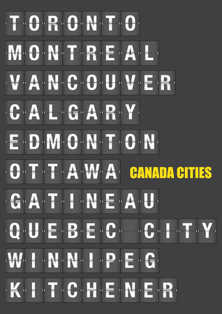 Names of Canadian cities on old fashion split-flap display like travel destinations in airport flight information display system and railway stations timetable. Vector illustration. Illustration