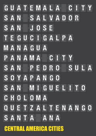 american cities: Names of Central American cities on old fashion split-flap display like travel destinations in airport flight information display system and railway stations timetable. Vector illustration.