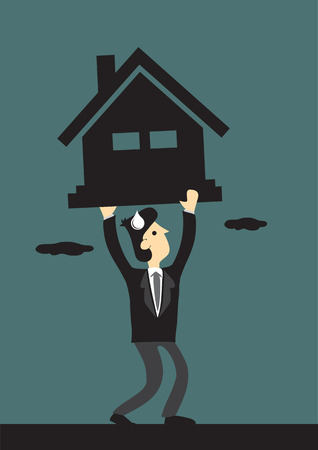 borrower: Vector cartoon illustration of business executive struggling under the pressure  a heavy house symbol. Concept for heavy financial pressure for mortgage loans obligation.