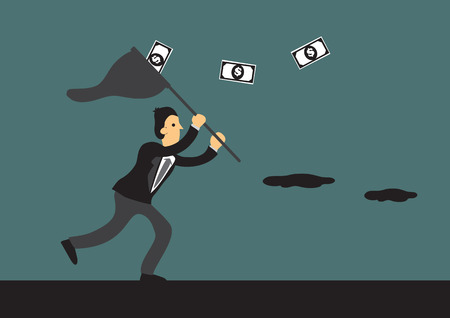 Cartoon businessman running after money and trying to catch them with a butterfly net. Creative vector illustration for business and monetary concept. Vettoriali
