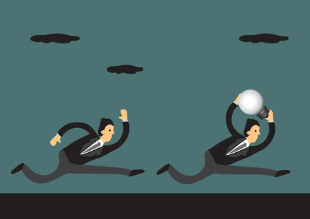 business rival: Businessman running with a big light bulb, a symbol to represent ideas, and his rival trying to catch up. Vector illustration for business concept and metaphor.