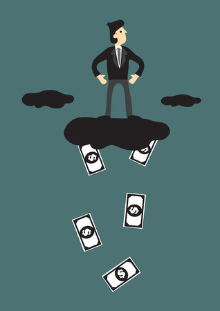 raining: Businessman standing on cloud that is raining dollar notes. Creative vector illustration for business concept. Illustration