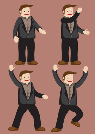 brown shirt: Smiling cartoon young man wearing brown shirt, black jacket and trousers in poses and gestures that suggest joy and excitement. Vector character illustration isolated on plain brown background.