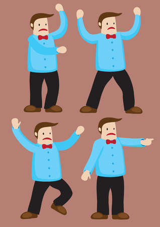 body language: Body language and gestures of an unhappy cartoon man with bow tie. Vector character illustration isolated on brown background. Illustration