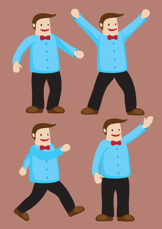 sideburn: Jolly fat man with a wide smile on face wearing blue shirt and red bow tie. Set of four vector characters isolated on brown background. Illustration