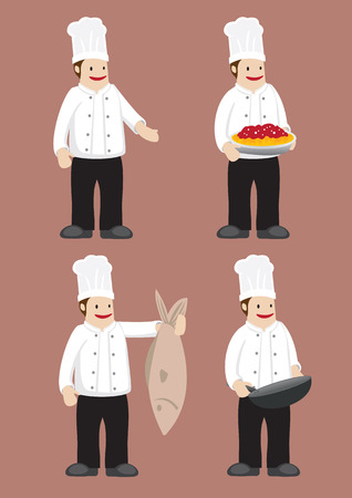 tall hat: Set of four cartoon chef in white double-breasted jacket chef uniform and toque. Vector illustration isolated on grey background.