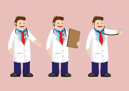 robe: Set of three cartoon doctor in white robe and stethoscope. Vector illustration isolated on pink background.