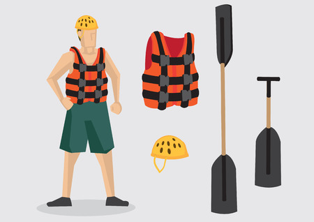 rafter: Cartoon character wearing life jacket and water shoes with outdoor water sports equipment such as helmet, oar and paddle. Vector illustration isolated on plain background.