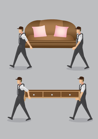blue collar: Workers working together to transport couch and cabinet. Vector illustration of cartoon characters and furniture isolated on plain grey background.