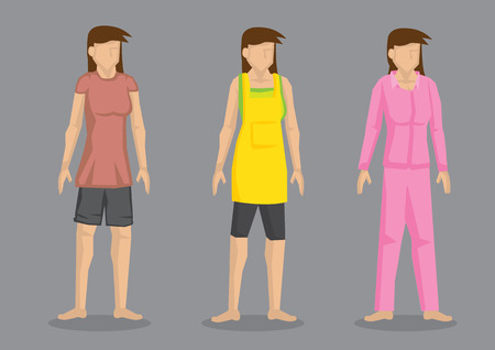 causal: Set of three vector character of cartoon women wearing comfortable casual outfit isolated on plain grey background. Illustration