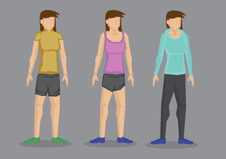 activewear: Set of three vector illustrations of cartoon women in different fashion outfits for sporty look isolated on grey background.