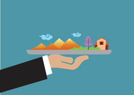 charming: Hand holding a plate with charming landscape of mountains, trees and house. Creative vector illustration isolated on green background on travel vacation concept.