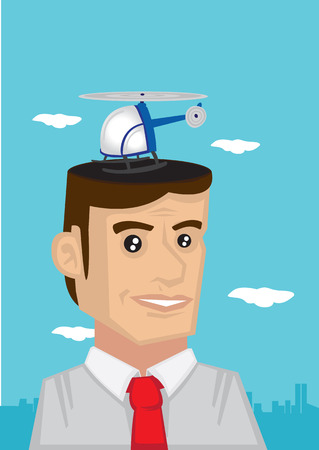 Vector illustration of a helicopter landing on head of cartoon character of a white collar worker, concept for desire for luxury lifestyle.