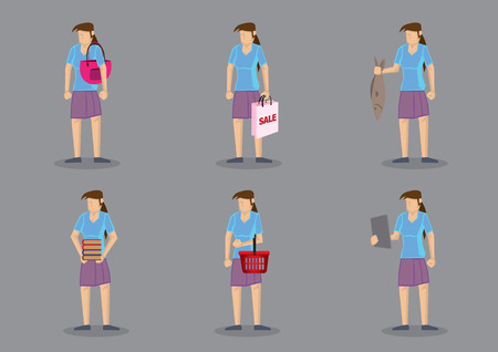 homemaker: Set of six vector cartoon character of woman as homemaker carrying different objects isolated on grey background. Illustration