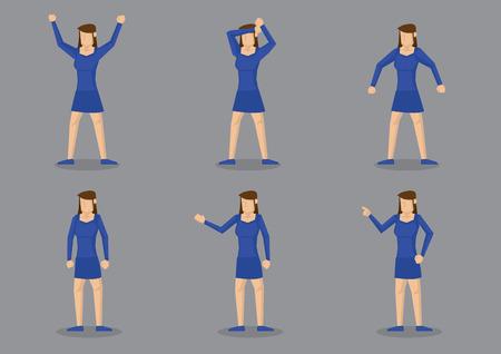 illustrazione della ragazza in blu corpo raccordo abito corto e la congruenza scarpe blu in diversi gesti.