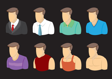 Busts of cartoon men character in different outfits. Vector icons on isolated on black background.