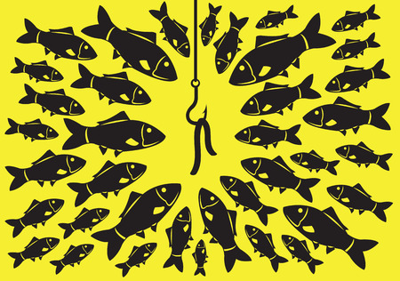 catch: A lot of fishes attracted to a fishing hook with worm as bait. Minimalist vector illustration in black isolated on saturated yellow background.