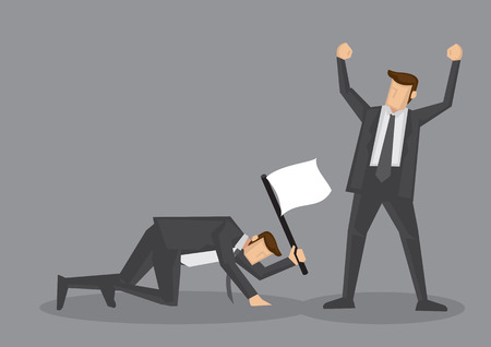 Winner raised arm in victory gesture and loser crawling on floor with white flag to surrender. Vector illustration for business concept isolated on grey background. 矢量图像