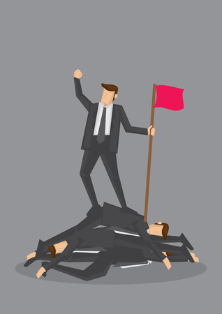 tyrant: Businessman standing on a pile of dead bodies and holding a flag and fist up in air in victory. Conceptual vector illustration for rising to the top by being ruthless isolated on grey background.
