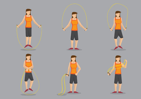 skipping: Set of six cartoon woman exercising with skipping rope.