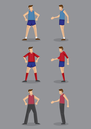 activewear: Front view and side view of man in sportswear and active wear for different sports activities. Illustration