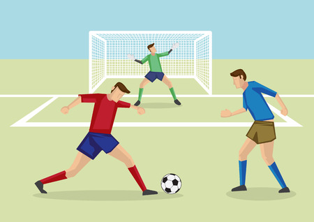 playing soccer: Soccer player dribbling soccer ball in soccer field in front of goalkeeper and goalpost.
