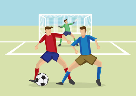 opponent: Soccer player wearing red jersey shielding soccer ball from opponent who is trying to steal the ball, in front of goalkeeper and goalpost, potential offside position.