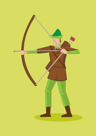 robin hood: Archer in Robin Hood hat and costume using bow and arrow.