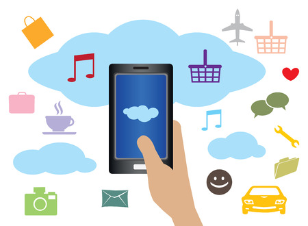 handphone: Vector illustration of hand holding handphone with clouds and web applications icons in background.