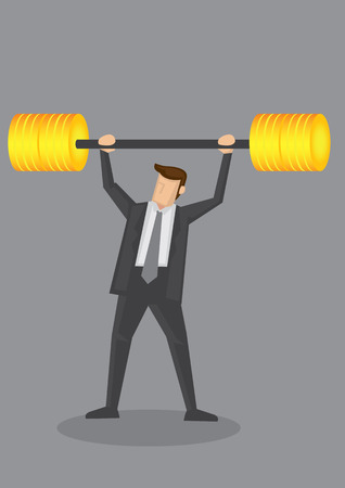 financial metaphor: Business executive powerlifting barbell made of golden bumper plates discs. Vector illustration for business financial strength and financial health metaphor. Illustration