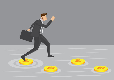 challenges: Businessman makes use of gold coins as stepping stones to get across water. Creative cartoon vector illustration for concept of using money to overcome challenges in business.
