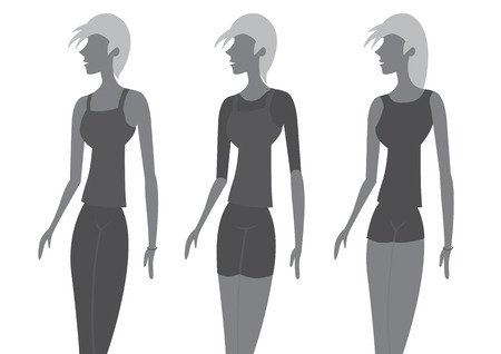 causal: Set of three designs of chic fashion for women.  Illustration