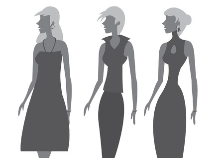 tight body: Three women in side view wearing feminine sleeveless dress outfits designs with different necklines with matching hairstyles. Illustration