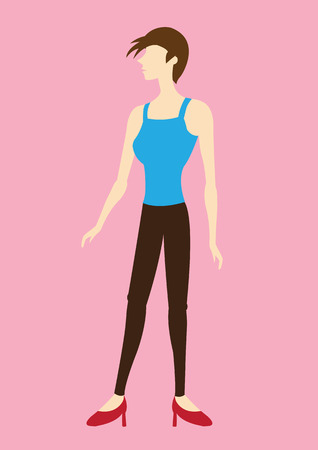 Vector illustration of stylish cartoon woman character with short hair wearing spaghetti straps tank top and skinny jeans isolated on plain pink background.