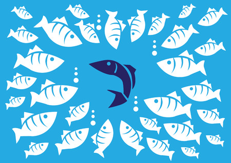 analogy: Curious white fishes surrounding a single dark blue fish.