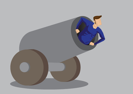 Cartoon vector illustration of a stunt performer in the mouth of a cannon on wheels isolated on grey background. Illustration