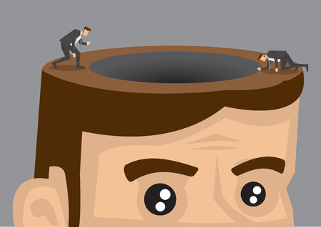 couching: Cartoon man in suit exploring around black hole on the opened head of a giant man. Creative conceptual vector illustration isolated on grey background.