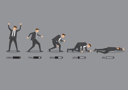 agotado: Serie de un ejecutivo de negocios en juego con el indicador de batería para mostrar su nivel de energía, desde completamente cargada para drenado y agotado. Conceptual ilustración de dibujos animados de vectores aislados sobre fondo gris.