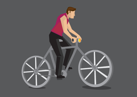 man side view: Vector illustration of the side view of a faceless cartoon man riding a bicycle isolated on grey background.
